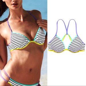 VS Pink Fabulous Stripes Push-Up Bikini Top 36B